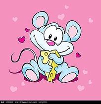 抱着芝士的小老鼠卡通矢量动物插画