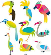 彩色色块鸟类时尚矢量动物插画