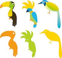 彩色色块鹦鹉时尚矢量动物插画