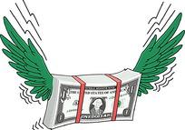 长着翅膀的一沓钱币插画
