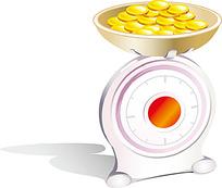 称重器和金币插画