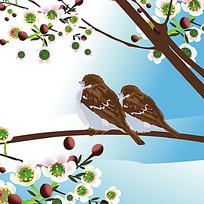 春天花朵小麻雀时尚矢量动物插画
