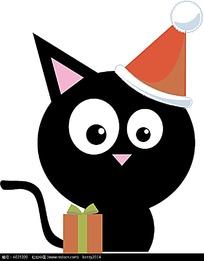 戴帽子的黑色小猫插画