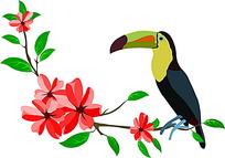 大嘴鸟和红色花朵时尚矢量动物插画
