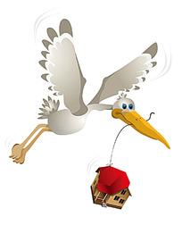 吊着房子的仙鹤时尚矢量动物插画