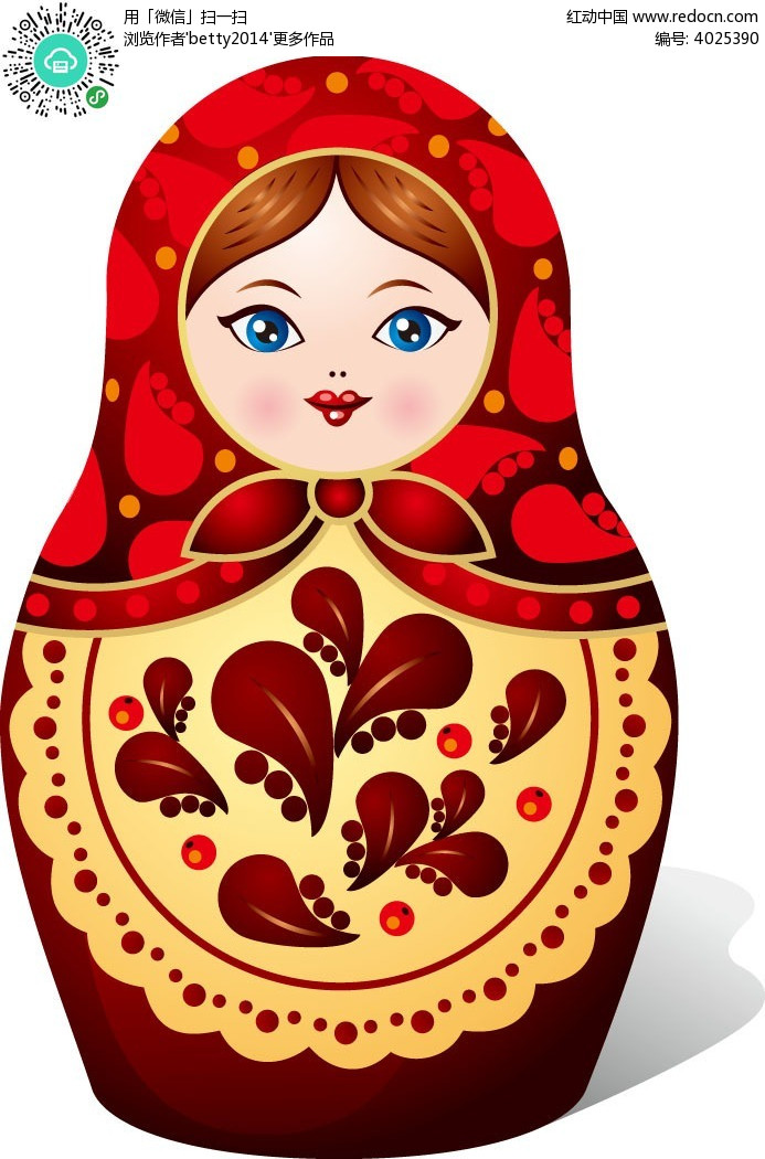 套娃-俄罗斯套娃卡通插画EPS素材免费下载 编号4025390 红动网