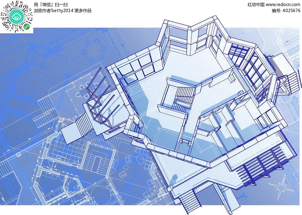 俯视建筑平面图卡通插画