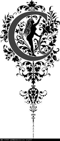 黑白花纹C图案