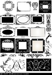 黑白花纹边框相框