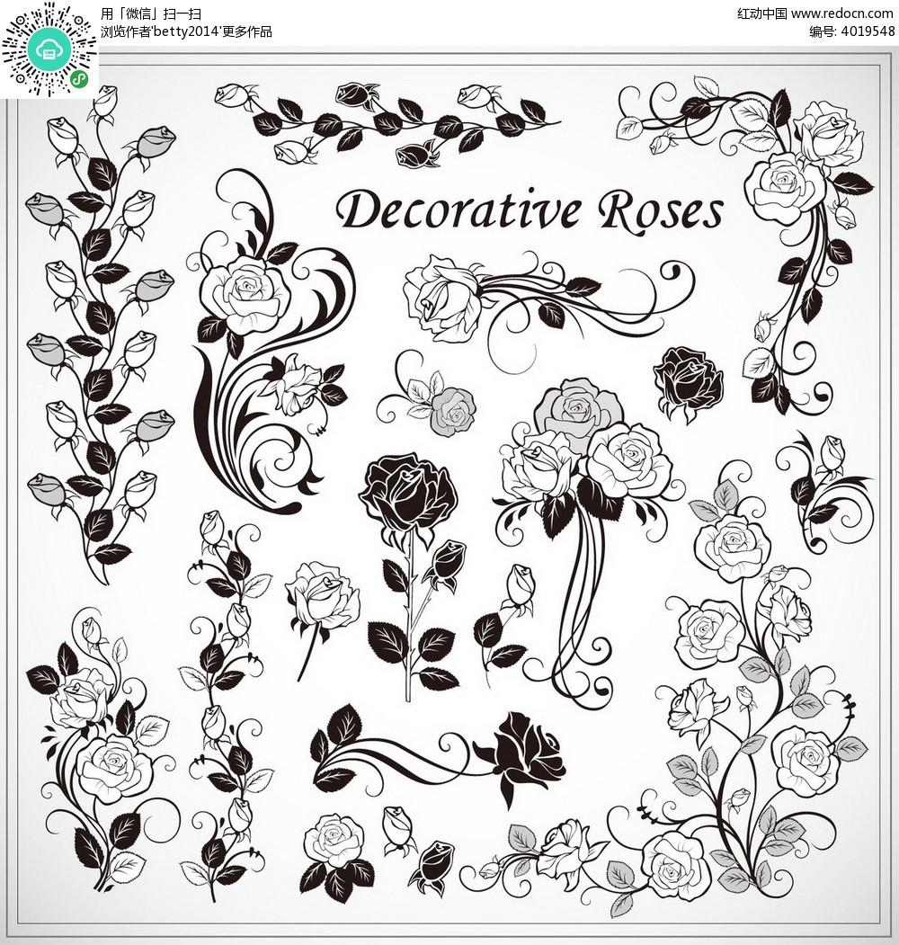 黑白线条玫瑰花底纹图片素材