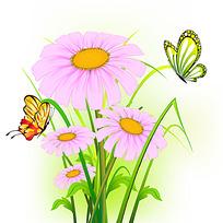 花朵蝴蝶时尚矢量动物插画