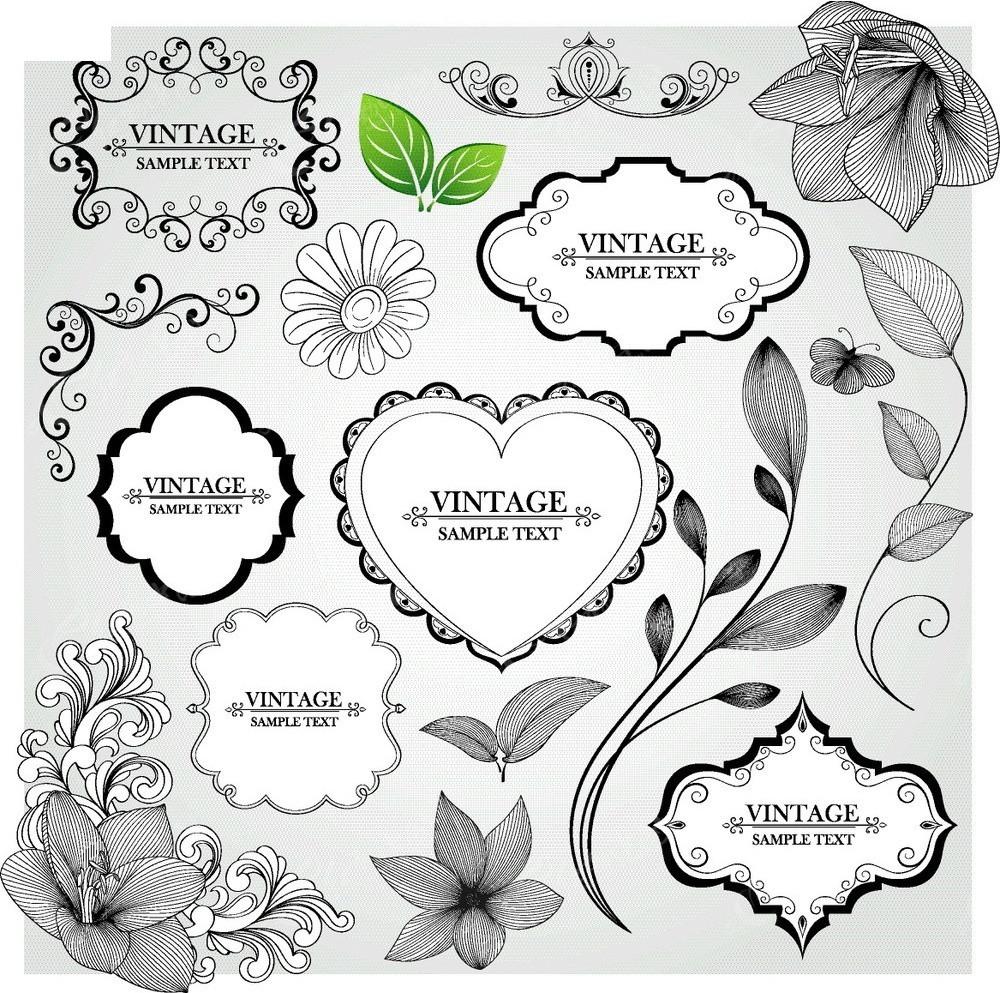 花纹边框素材 黑白花纹边框