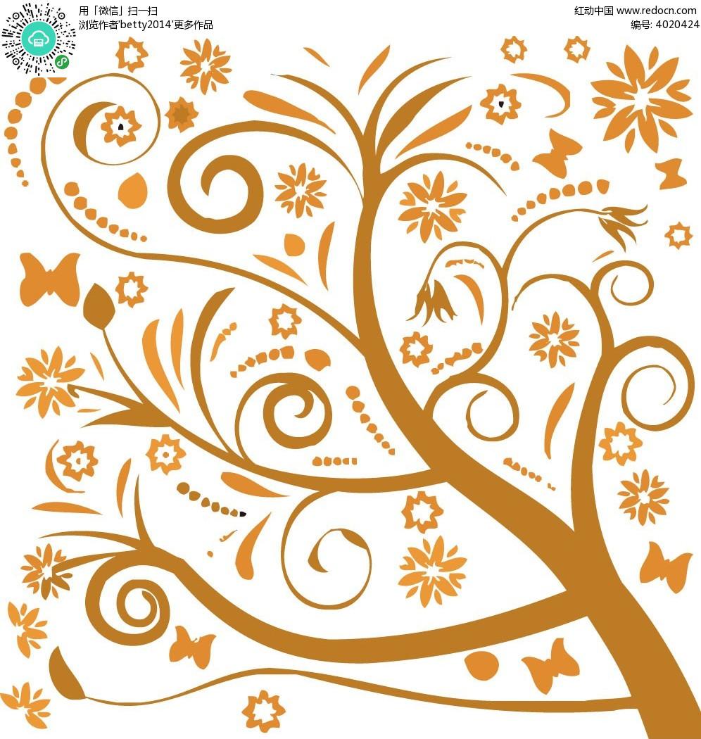花纹树背景图案EPS免费下载 花纹花边素材