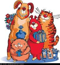 卡通猫狗老鼠图形
