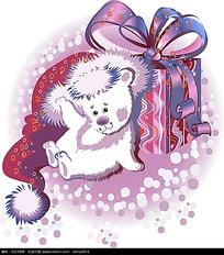 卡通小狗和礼物盒韩国插画