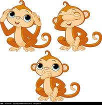 可爱大眼睛小猴子动物插画