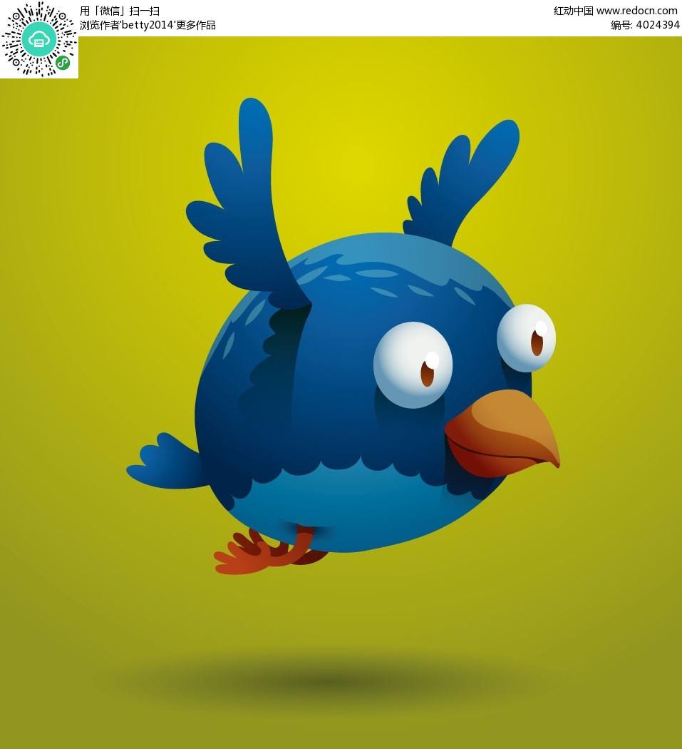 蓝色手绘小鸟韩国矢量动物插画