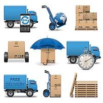 蓝色运货车和叉车卡通漫画