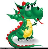 绿色吐舌头的西方龙卡通矢量动物插画