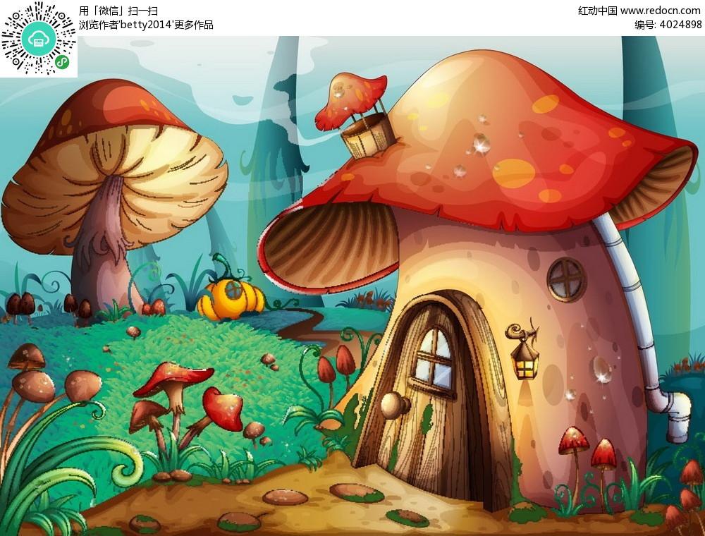 蘑菇小屋手绘背景画