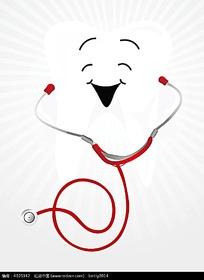 拿着听诊器的牙齿时尚漫画