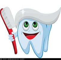 拿着牙刷的牙齿时尚漫画