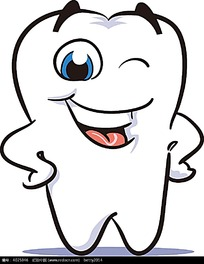 拟人叉腰的牙齿时尚漫画