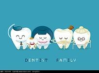 拟人小牙齿一家人韩国矢量动物插画