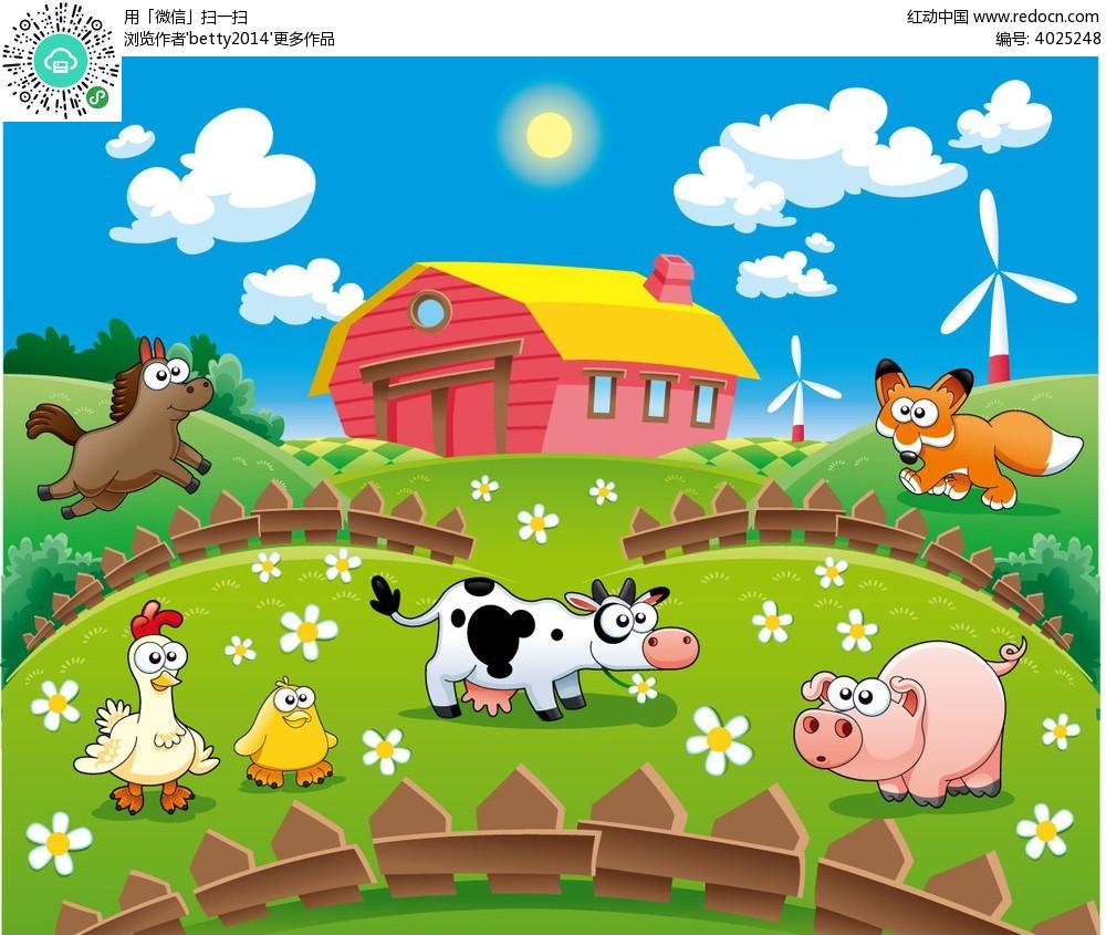 农场的小动物韩国插画
