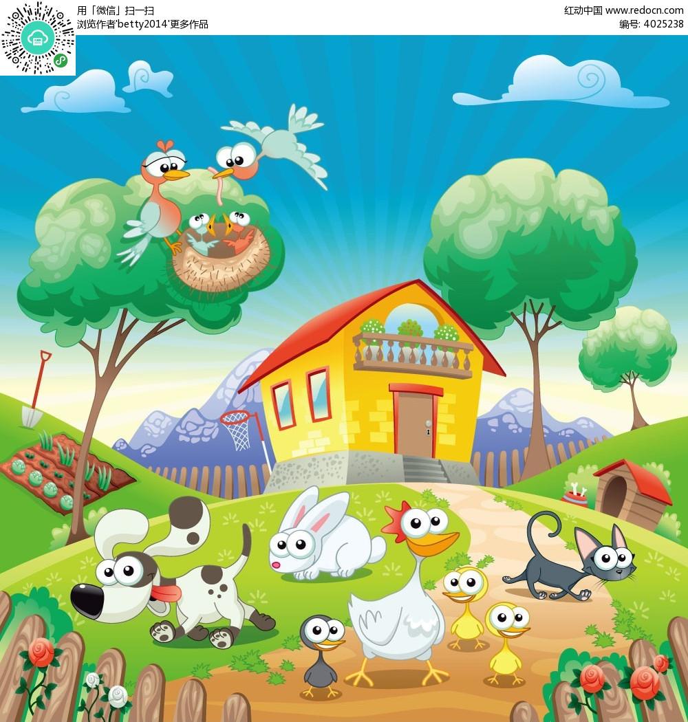 动物农场卡通矢量人物插画_卡通形象_红动手机版