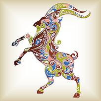 七彩花纹纹饰斑羚羊漫画