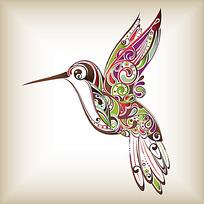 七彩线描装饰花纹蜂鸟时尚矢量动物插画