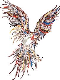七彩线描装饰花纹老鹰时尚矢量动物插画