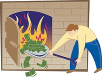 燃烧钱币的男人插画