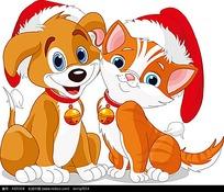 圣诞节小狗小猫插画