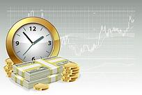 时钟和金钱韩国插画