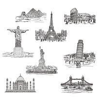 手绘世界著名建筑物
