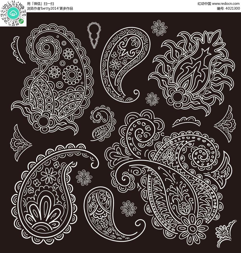 手绘线描花纹图案eps免费下载_花纹花边素材