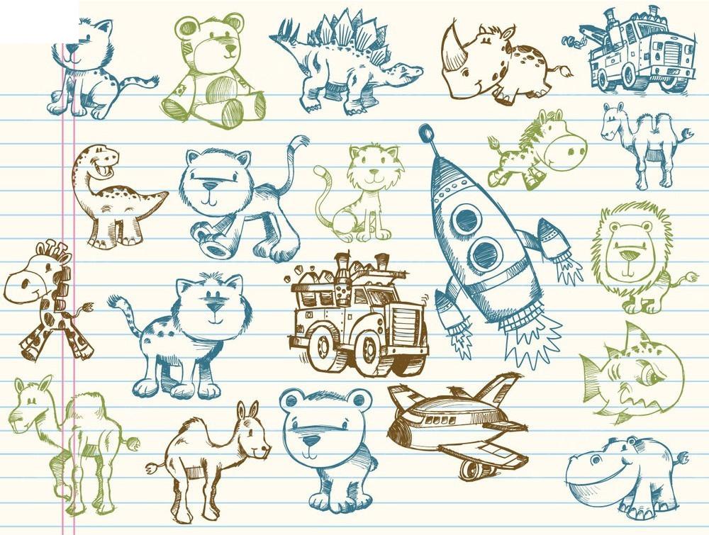 手绘小动物时尚漫画