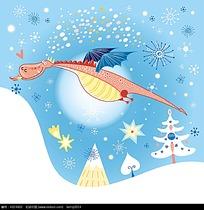 手绘雪地会飞的西方龙时尚矢量动物插画