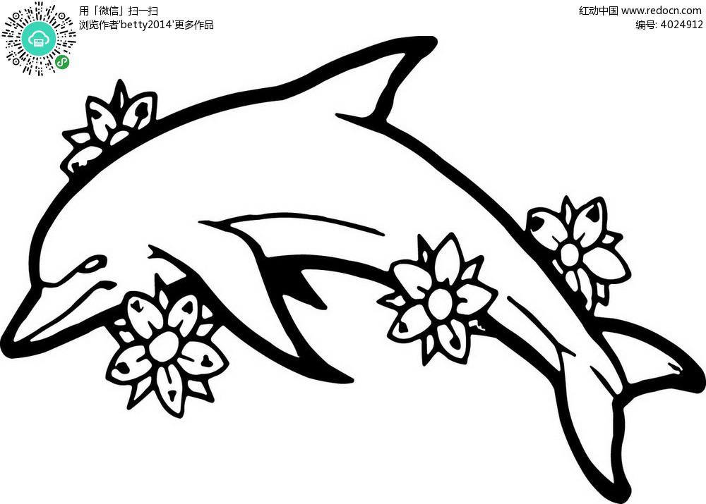 跳跃的鲸鱼手绘图案