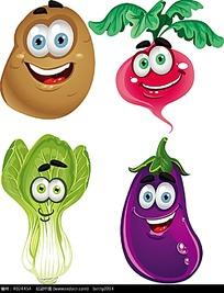 土豆茄子红萝卜菜心小卡通动物插画