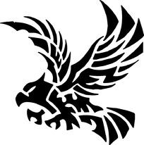 图腾黑色老鹰时尚矢量动物插画