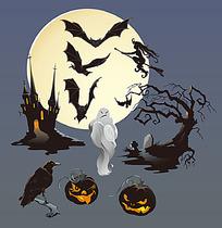 万圣节南瓜幽灵时尚矢量动物插画