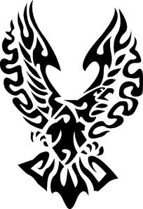 线描图腾老鹰时尚矢量动物插画