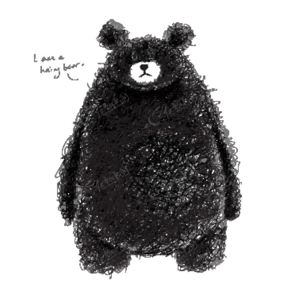 线描涂鸦小熊卡通矢量动物插画