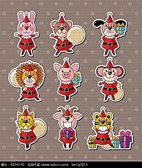 小标贴圣诞老人动物韩国动物插画