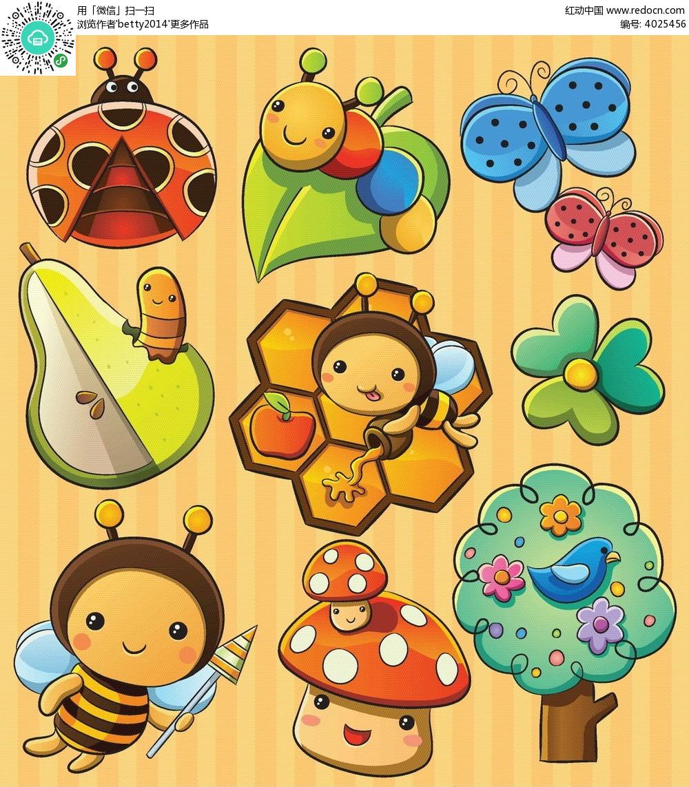 小蜜蜂七星瓢虫韩国插画