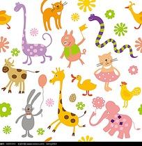 小清新动物卡通动物插画