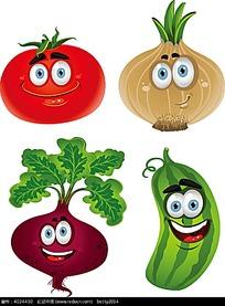 西红柿小黄瓜洋菜拟人小卡通动物插画